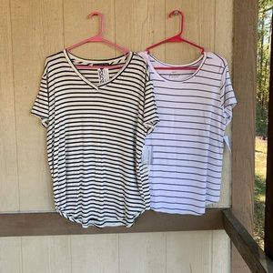 🆕 RUE 21 TWO STRIPPED TOPS SZ XL & L